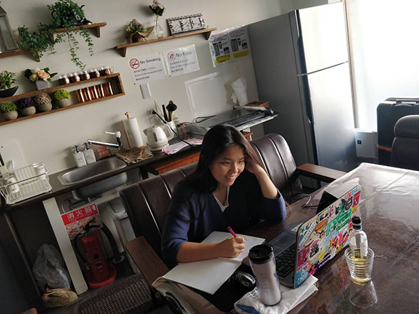 Ashley Uy studying for Term 1 finals in an airbnb in Tokyo